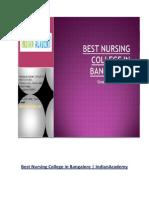 Best Nursing College in Bangalore   IndianAcademy