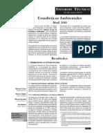 Informe Técnico de Estadísticas Ambientales, Abril 2010