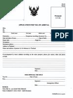 Visa on Arrival Form - Thailand