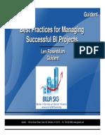 080130LenRosenblum - Best Practices in BI Project Management