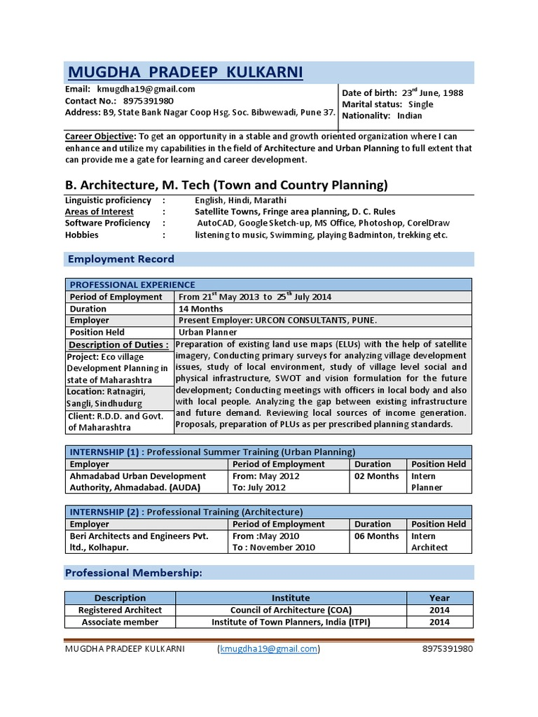 Resume Internship Urban Planning