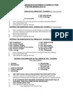 Criteria for Admission 2013-14