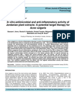 In Vitro Antimicrobial and Anti-Inflammatory Activity of Jordanian Plant Extracts. a Potential Target Therapy for Acne Vulgaris