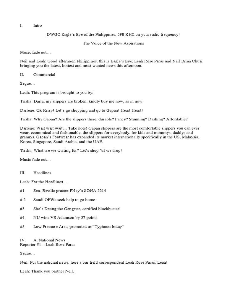 Television news script example