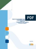 Point d'Avancement Sur Les Principaux Chantiers Marquants Dans Les Transports Idf Juin 2014