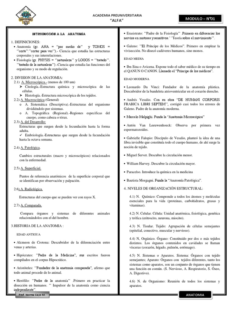 Anatomia Modulo i Cayetano
