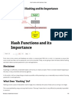 Hash Functions and Its Importance