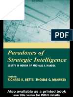 Richard Betts Paradoxes of Intelligence Essays in Honor of Michael I. Handel 2003