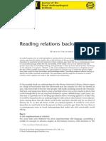 Strathern, M. Reading Relation Backwards