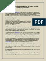 Dyman Associates Risk Management on How to Develop a Risk Management Plan