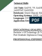 SAS Programmer Resume