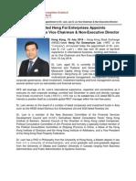 HKSE-Listed Heng Fai Enterprises Appoints Dr. Lam, Lee G. As Vice Chairman & Non-Executive Director