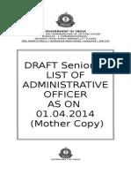 Seniority List of A.O. as on 01.04.14