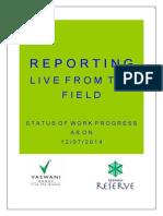 Vaswani Reserve Progress Report