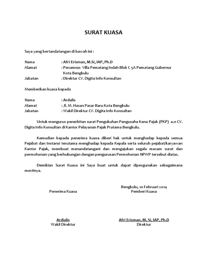 Contoh Surat Kuasa Pembuatan Npwp Perorangan Suratsuratxyz