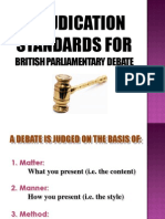 Adjudication Considerations for British Parliamentary Debate