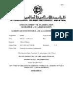 ACC 1001 Final Exam Sem 1 1314