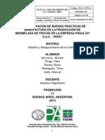 Implementación de Buenas Practicas de Manufactura en La Producción de Mermelada de Frutas en La Empresa Pirua 337 s.a.c. - Perú