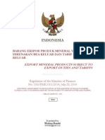 Regulation of MoF No. 153/PMK.011/2014 Indonesia Export Duties/Tariffs on Mineral Products