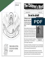 Children's Word bulletin for Sunday, August 10, 2014