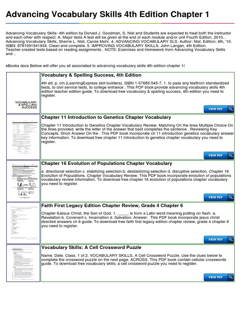 Advancing Vocabulary Skills 4th Edition Chapter 1 – Evolution Vocabulary Worksheet