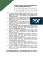 Acta de Junta Obligatoria Anual Cerro de Oro Dorado Sociedad Anonima Abierta Transformación de Sociedad