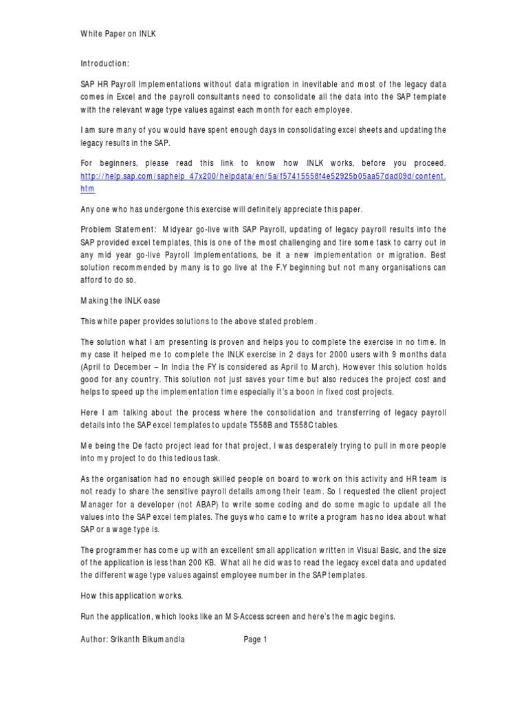 Whitepaper on INLK Payroll - SAP | Microsoft Excel | Programmer