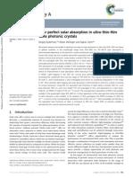 Near Perfect Solar Absorption in Ultra Thin Film GaAs Photonic Crystals
