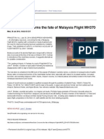 New Book Concerns the Fate of Malaysia Flight MH370