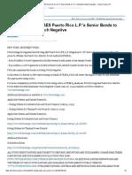 Fitch Downgrades AES Puerto Rico L.P