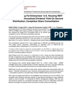 HK-Listed Heng Fai Enterprises' U.S. Housing REIT Delivers 8.0% Annualised Dividend Yield On Second Distribution; Completes Share Consolidation