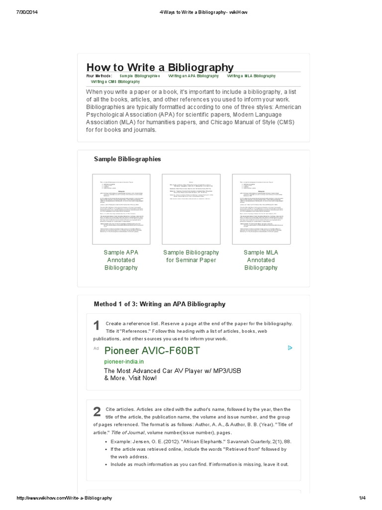 how to write a bibliography for a paper