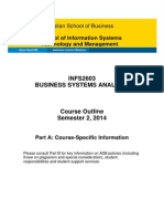 INFS2603 Course Outline Part a S2 2014