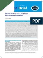 Citizen Participation and Local Governance in Tanzania