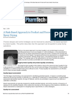 Pharmaceutical Technology_ a Risk-Based Approach to Product and Process Quality in Spray Drying