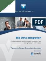 Ventana Research Benchmark Research Big Data Integration Executive Summary 2014 Pentaho