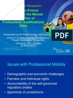 The Quebec-France Agreement on the Mutual Recognition of Professional Qualifications