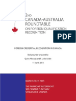 Foreign Credential Recognition in Canada
