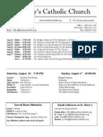 Bulletin for August 10 , 2014