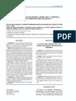 Estudio de Los Niveles de Plomo Cadmio Zinc y Arsenico en Aguas de La Provincia de Salamanca