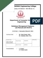 Dbms Lab Manual
