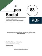 Distribucion de La Participacion Para La Educacion 2004