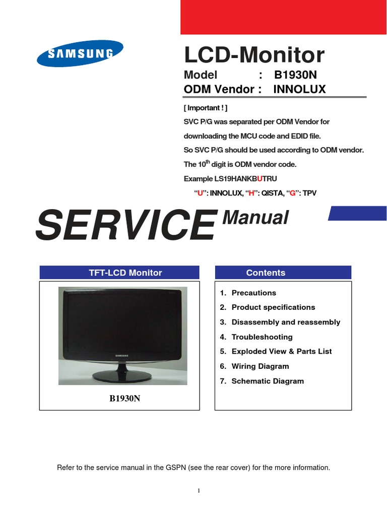 Samsung B1930n Monitor Computer Electrical Connector Tft Lcd Wiring Diagram