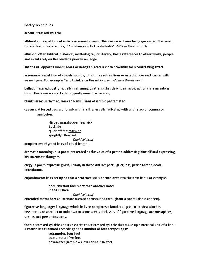 Year 10 Poetry Techniques List Metre Poetry Poetry
