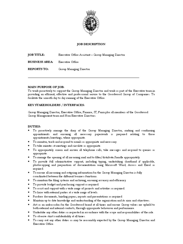 Executive Office Assistant Group Managing Director Job Description May12 |  Chief Executive Officer | Economics