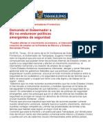 com0846 250806 Demanda el Gobernador Eugenio Hernández a EU no endurecer políticas emergentes de seguridad