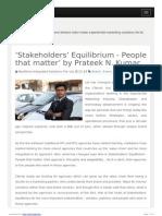'Stakeholders' Equilibrium - People that matter' by Prateek N. Kumar