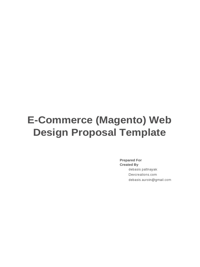 ECommerce Magento Web Design Proposal Template – Website Design Proposal Template