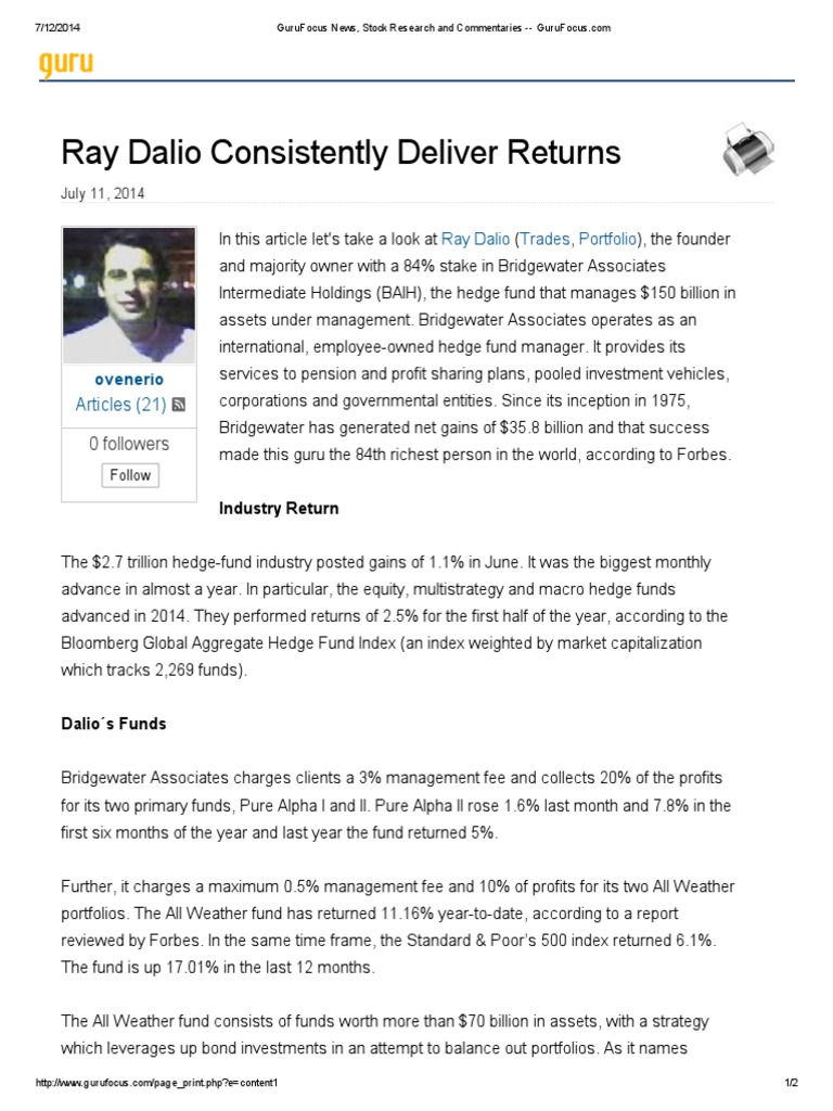 Ray Dalio Consistently Deliver Returns | Hedge Fund | Companies