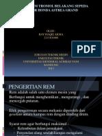 Analisa Rem Tromol Belakang Sepeda Motor Honda Astrea